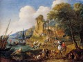 Fishermen Landing Their Catch, With Travellers On A Road Before A Classical Ruin And A Town - Pieter Bout