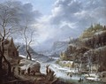 A Mountainous Winter Landscape With Skaters On A Frozen Lake - Johann Christian Vollerdt or Vollaert