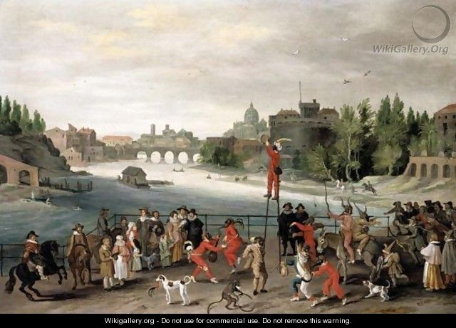 Rome A Carnival On The River Tiber, A Capriccio View Of The Castel Sant
