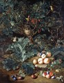 A Forest Floor With Peaches And Plums Arranged On Stony Ground Below A Small Tree Filled With A Bird's Nest And Berries - Pieter Snyers