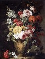Still Life Of Flowers In A Carved Stone Vase - Gaspar-pieter The Younger Verbruggen