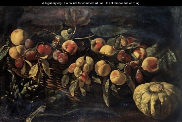 Still Life Of Peaches And Plums In A Wicker Basket, Together With Artichokes And A Melon - Roman School