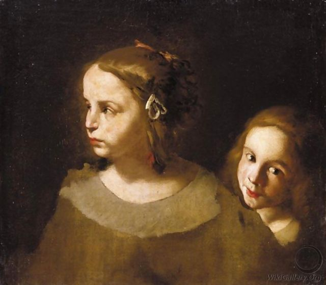 Study Of Two Children, Both Head And Shoulders - (after) Pier Francesco Cittadini