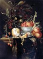 Still Life Of A Peeled Lemon With Prawns And Whitecurrants On A Pewter Dish, With Peaches And Fraises-De-Bois In A Blue-And-White Porcelain Bowl, Cherries And A Roemer, All Upon A Table Partly Draped With A Brown Cloth - Harmen Loeding