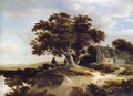 A Dune Landscape With A Drover And His Sheep Beneath A Pondside Oak, A Cottage To The Right - Meindert Hobbema