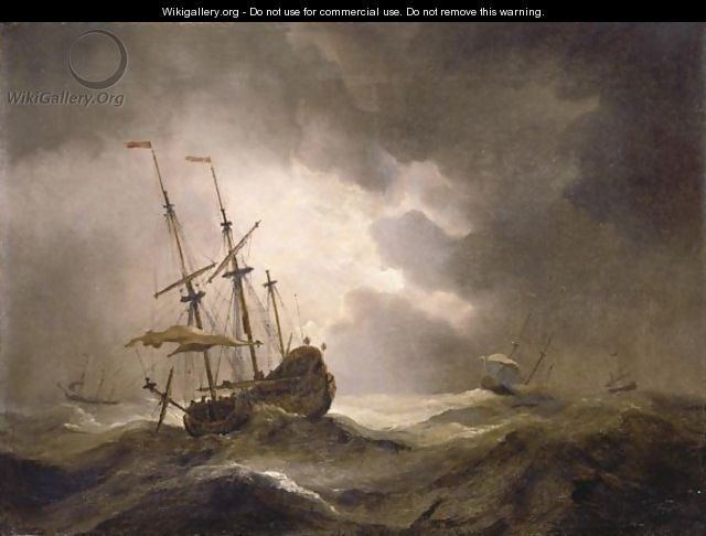 A Merchantman In A Storm, Three Other Ships On The Horizon - Willem van de, the Younger Velde