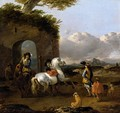 Italianate Landscape, With Cavaliers And The Horses Before Some Ruins - Jan Frans Soolmaker