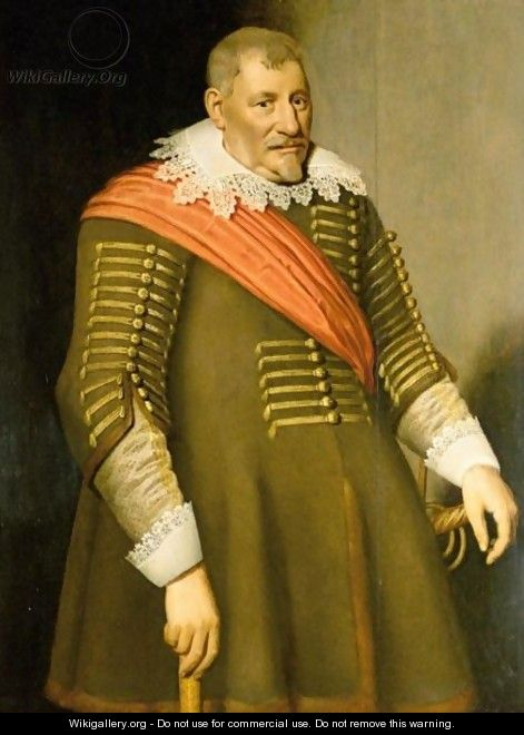 Portrait Of A Gentleman, Three-Quarter Length, Wearing A Red Sash - (after) Anthony Van Ravesteyn