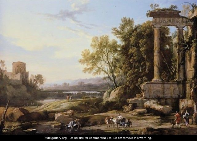 An Italianate Landscape With A Cattle Herder And Other Figures Below Roman Ruins - Pierre-Antoine Patel