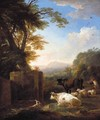 An Italianate Landscape With A Piping Herdsman Tending His Animals - Adriaen Van Diest