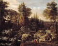 A Rocky River Landscape With Travellers, A Classical Temple Beyond - Gerrit Van Battem