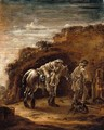The Good Samaritan, Or A Traveller Resting On His Horse In A Landscape, En Grisaille - Cornelis Verbeeck