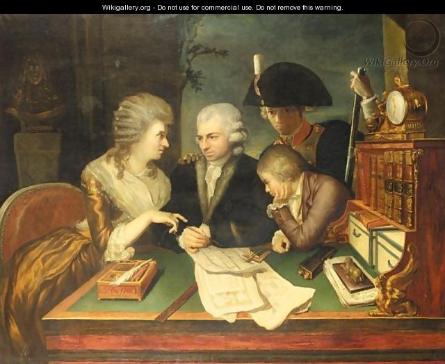 An Interior With A Family Seated Around A Bureau Studying Architectural Plans - French School