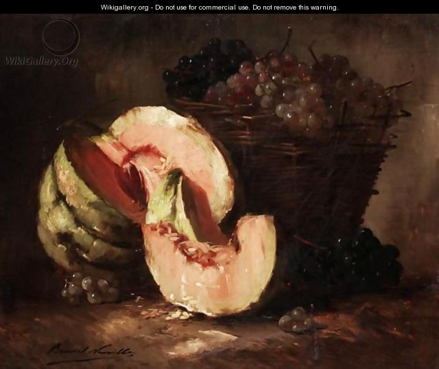 Still Life Of Melons And Grapes - Alphonse de Neuville