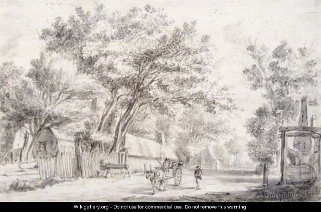 A Village Street, With A Horse And Cart And A Man Walking Alongside - Anthonie Waterloo