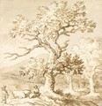 Landscape With Figures Resting By A Tree - Allaert van Everdingen