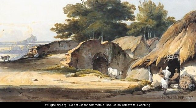 Indian Figures By A Hut With Cattle And A Bridge Nearby - George Chinnery