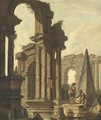 Figures Among Roman Ruins - (after) Hubert Robert