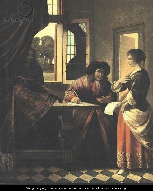 Interior Scene With A Man At A Writing Table - (after) Pieter De Hooch