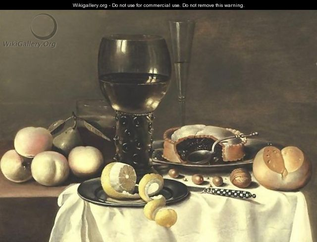 Still Life With A Roemer, Peaches, A Pear, And A Pie All Resting On A Partially Draped Table - (after) Hans Van Sant