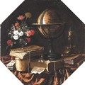 Vanitas Still Life With A Zodiac Globe, A Snuffed Candle, Dice, Books, Cards And Flowers, All On A Draped Table - Spanish Unknown Masters