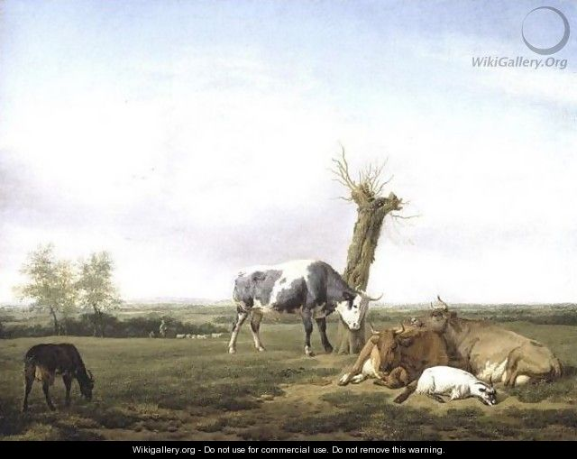 Cattle And Goats By A Pollarded Tree In A Meadow, Shepherd Boys Approaching Beyond - (after) Adriaen Van De Velde