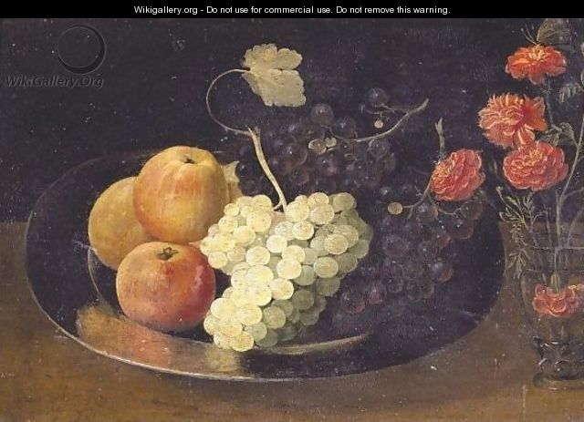 Still Life With Grapes And Apples On A Pewter Plate And A Glass With Carnations - Jacob Fopsen van Es