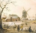A Winter Landscape With Villagers On A Path By A Frozen River, A Windmill Beyond - Hendrick Avercamp
