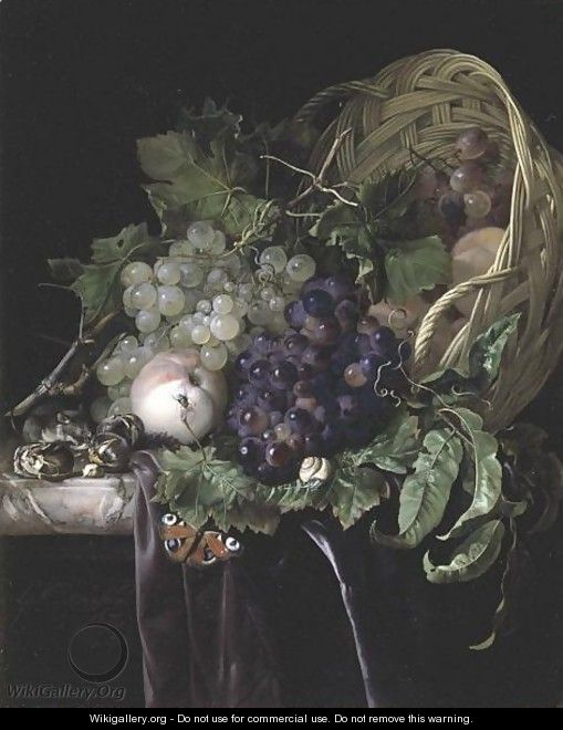 Peaches, Chestnuts And Grapes In An Overturned Basket Resting On A Partially Draped Marble Ledge - Willem Van Aelst