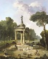 A Capriccio With Washerwomen Around A Classical Fountain - Hubert Robert