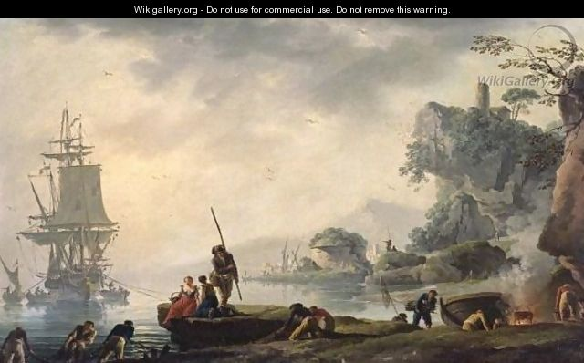 The Return Of The Fishermen In A Coastal Landscape With Ruins In The Foreground - Claude-joseph Vernet