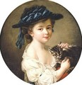 Portrait Of A Girl Holding A Cat - (after) Franois-Hubert Drouais