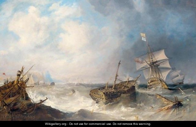 H.M.S. Conqueror Towing H.M.S. Africa Off The Shoals Of Trafalgar, Three Days After The Battle - John Wilson Carmichael