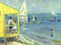 Yellow Bath House And Sailboat, Bellport, Long Island - William Glackens