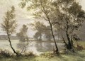 The Riverbank At Sunrise - Albert Gabriel Rigolot