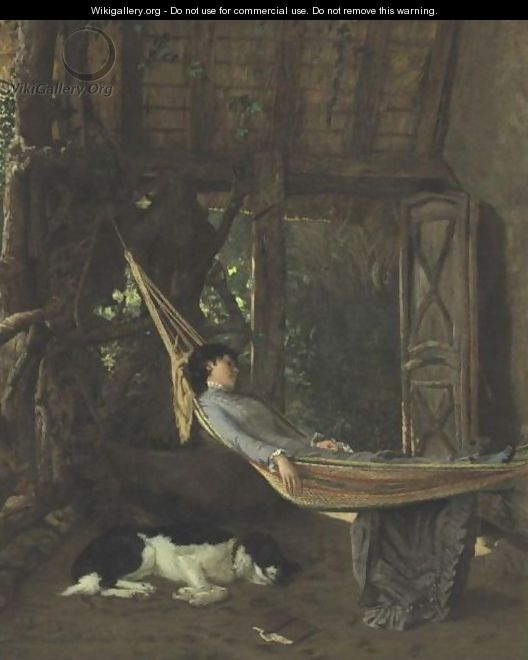 Lilly Millet In A Hammock In The Studio, Bridgewater, Massachusetts - Francis Davis Millet