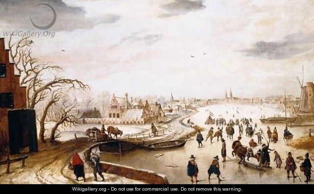 A Winter Landscape With Figures Skating On A Frozen River - Hendrick Avercamp