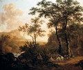 An Extensive Wooded River Landscape With Travellers On A Rocky Road, Ruins And Mountains Beyond - Dirck Dalens II