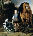Portrait Of A Young Man With A Horse And Hunting-Dogs At The Edge Of A Wood - Flemish School