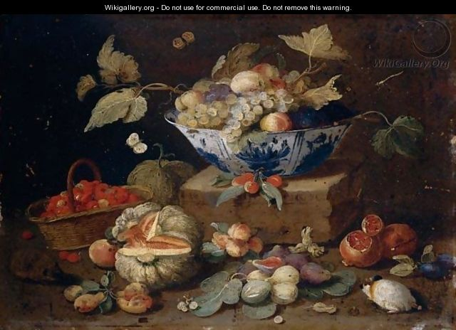 Still Life Of Apples And Grapes In A Blue-And-White Porcelain Bowl Together With Pomegranates, Figs, A Watermelon, A Basket Of Fraises-De-Bois, Peaches, Plums, A Guinea-Pig And A Hedgehog - (after) Jan Van Kessel