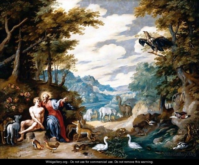 The creation of adam in the garden of eden jan the for Creation of adam mural