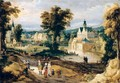 A Landscape With A Castle On A River And Figures Going About Their Daily Activities - (after) Joos De Momper