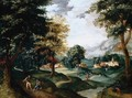A Landscape With Travellers Resting On A Path In The Foreground, A Village Beyond - Jacob Grimmer