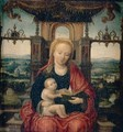 The Virgin And Child Enthroned With An Extensive River Landscape Beyond - (after) Adriaen Isenbrant