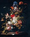 A Still Life Of Blooms Of Lily, Rose, Poppy, Peony, Iris, Narcissus, Carnation, Convolvulus And Other Flowers, With Sprays Of Cow Parsley, In A Chinese Porcelain Vase On A Marble Ledge - Simon Pietersz. Verelst