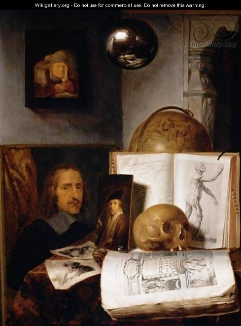 Still Life Of Books, Prints, Paintings, A Skull, Shell And A Globe Upon A Table Draped With A Green Cloth, A Sphere And A Painting Hanging Above - Simon Luttichuys