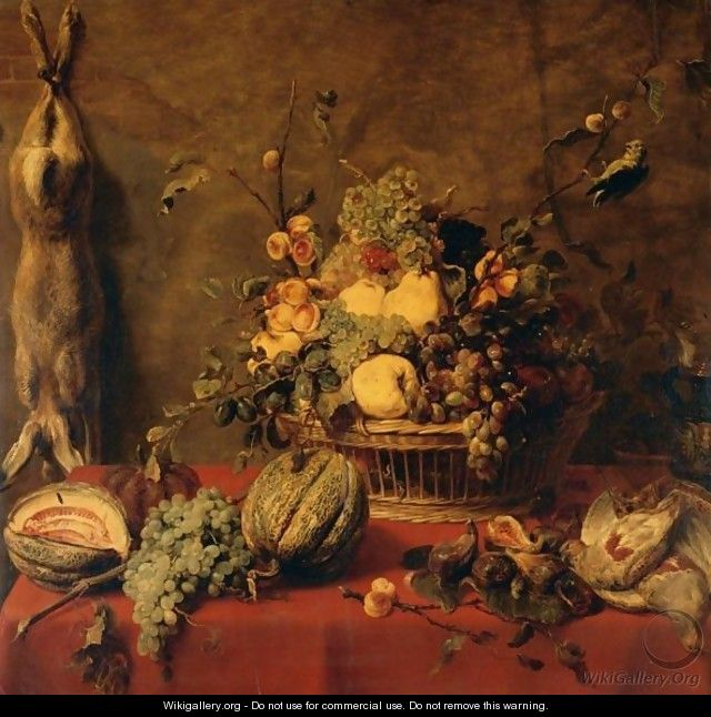 A Still Life Of Fruit In A Basket, Flanked By Melons, Grapes And Figs, Partridge, All On A Ledge Draped In A Red Cloth, With A Hare Suspended From A Nail To The Left - Frans Snijders
