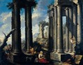Landscape With Drovers And Other Figures Amidst Classical Ruins - Neapolitan School