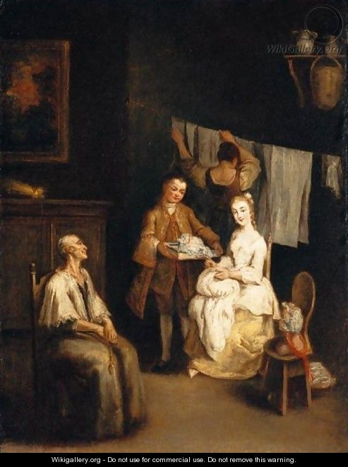 An Interior With A Boy-Servant Bringing A Young Lady A Bonnet, An Elderly Lady Seated Nearby And A Maid Hanging Laundry Beyond (
