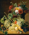 A Bouquet Of Flowers In An Urn And A Melon, A Pineapple, Grapes, Apricots, Peaches And Other Fruit, All Resting On A Marble Ledge - Anton Weiss